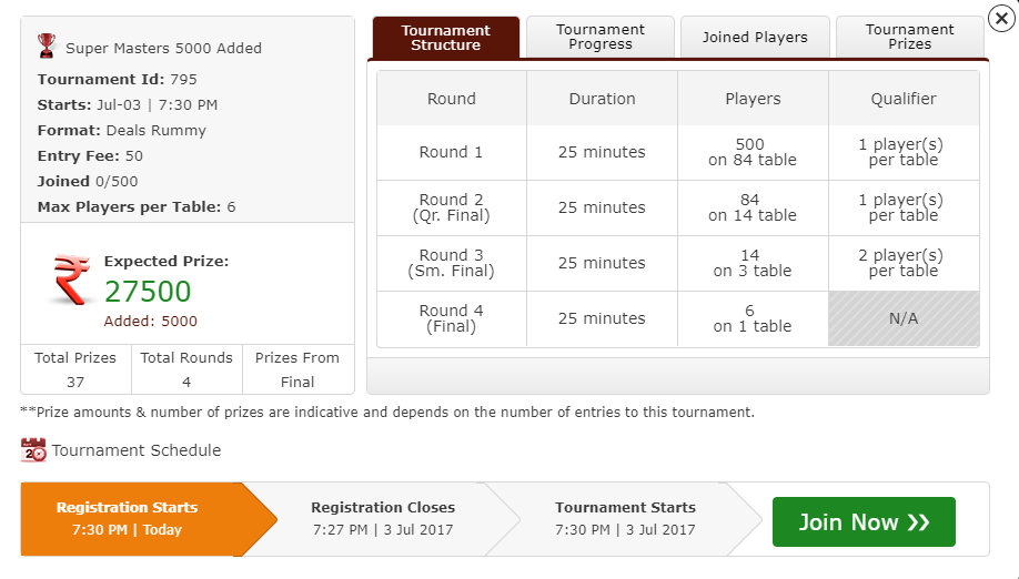 Rummy Tournament Details Page