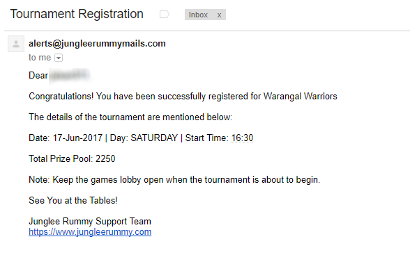Email Confirmation on Joining the Rummy Tournament
